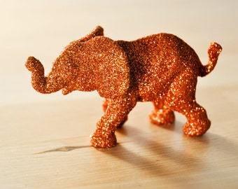 Orange Baby Elephant Jungle Safari Baby Shower Decorations in Koi Glitter for Autumn Wedding Cake Topper, Table Settings, or Nursery Decor