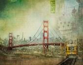 San Francisco Art, Original Golden Gate Bridge Art Collage, San Francisco Print, Urban, Photography Collage, SF Photo - Suspension