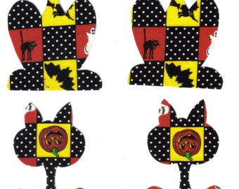 Set of 4 Patchwork Halloween Cat Fabric Iron On Appliques