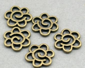 Flower Charms Antique Bronze 8pcs pendant beads 13X13mm CM0178B