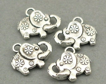 Elephant Flower Charms Antique Silver 6pcs base metal beads 14X16mm CM0582S