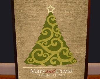 Rustic Christmas Wedding Guest Book Tree - Archival Quality Custom Poster