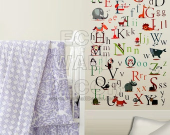 PEEL and STICK Removable Vinyl Wall Sticker Mural Decal Art - Animal Alphabet A-Z