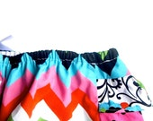 Baby Girl Bloomer-Fall-Chevron diaper cover-multi colored-ruffle diaper cover-black pink aqua orange green-Fall-Baby Girl Fall