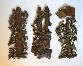 Set of 3 Mid Century Wall Hangings Burwood Wall Plaques - Hollywood Regency Wall Decor