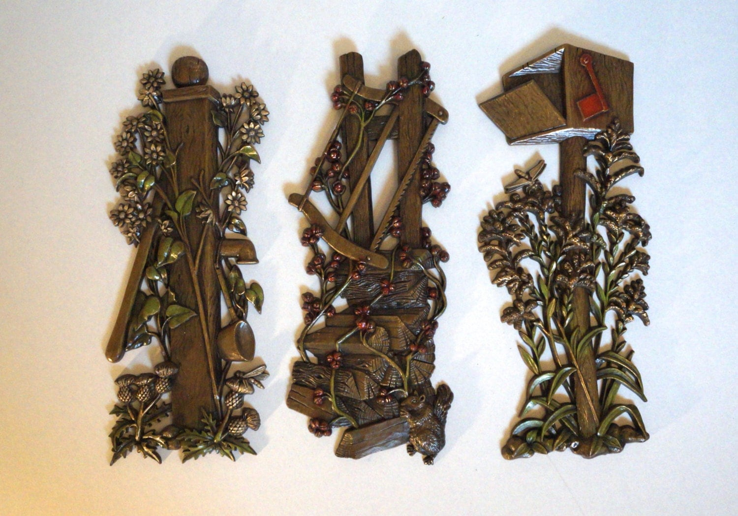Set of 3 mid century wall hangings burwood wall plaques for Hollywood regency wall decor