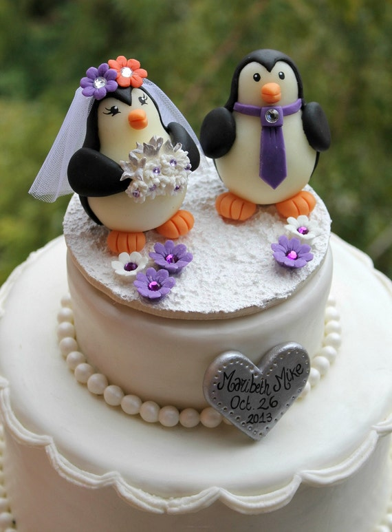 Penguin Wedding Cake Topper Love Birds With Snow Base And