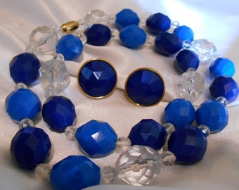 Avon Royal Facets lucite bead necklace and matching pierced Royal Blue earrings