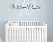 Personalized Initial and Name Vinyl Wall Decal with Monogram Personalized for Baby Nursery Boy or Girl Elegant Script Small to X-Large WA029