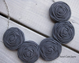 Fabric Rosette Necklace Steel Gray Bib Necklace Statement Necklace Grey Fabric Necklace Unique Neklace Handmade Necklace Bridesmaid Necklace