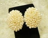 Vintage Freshwater Pearl Earrings, Huge Cluster of Pearls, Bridal Pearl Earrings, Clip-On, Large Pearl Earrings, Ear Climbers, Gift For Her