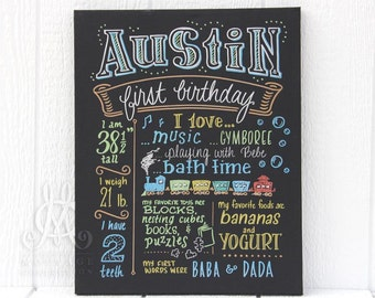 """16""""x20"""" canvas, first birthday chalkboard style custom ink drawing, the original Favorite Things Poster™"""