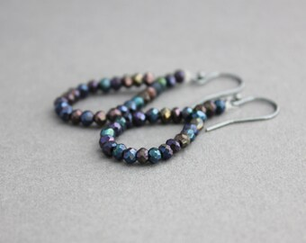 glam earrings black spinel earrings purple blue black iridescent earrings glittery dangle earrings silver glitzy boho