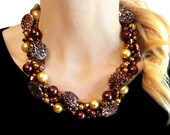 PETITE TWISTED, Statement Necklace, Animal, Gold, Bronze, Brown, Pearls, Cheetah, Leopard, Chunky, Bridal, Jewelry by Jessica Theresa