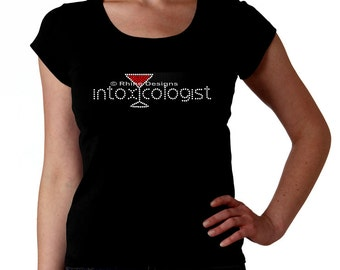 Intoxicologist Martini RHINESTONE t-shirt tank top sweatshirt - S M L XL 2XL - Select Rhinestone Color - Martini glass Bartend Bartender Bar