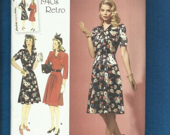 Simplicity 1587 1940's Reintroduced Dress Pattern with Drop Waist Fitted Bodice & Yoke  Sizes 6 to 14 UNCUT