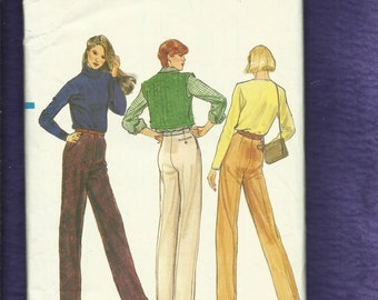 Vintage 1980s  Vogue 7784 Slim Leg Pants with Front Fly & Slant Pockets Sizes 12
