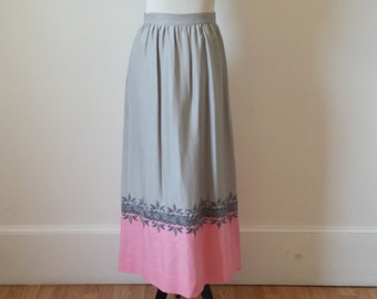 Vintage Embroidered Linen Maxi Skirt