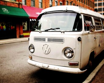 White VW Bus Photo, Vintage Volkswagon Photography, Retro Hipster Boho Decor, Hippie Bus Print, Dorm Livingroom Bedroom Home Decor Wall Art