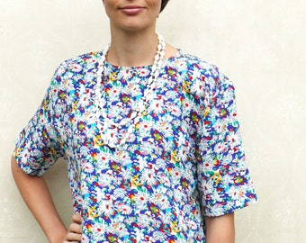 """Vintage floral top, open size - bright colours . . . """"Like"""" our fb page for 10% discount"""
