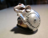 mouse netsuke, wooden, hand carved, hand painted, hand embellished,LUCKY GOLDEN BALL ...