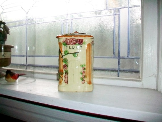 Vintage Flour Canister Country Cottage With Roses
