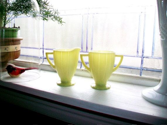 Reserved for Kevin Yellow Creamer and Sugar Newport Depression Glass Vintage 1940s