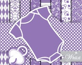 Baby Digital paper frame one piece baby romper purple photo circle digital frames clip art pacifier : p0200 3s3350