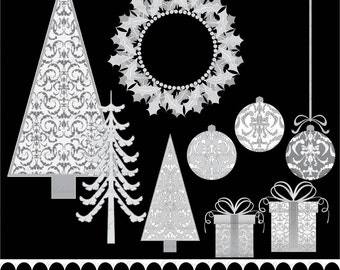 Christmas clip art - Christmas tree - Christmas damask - ornaments clip art - damask - silver : h1055 v001
