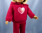 Doll Clothes 18 Inches - fit American Girl - Sweatsuit - Deep Cherry Pink with Sequin Heart - Hoodie and Sweatpants