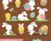 HAPPY EASTER 1  Digital Clipart , Easter  Clipart, Bunny ClipArt, Easter Egg Clipart / Instant Download