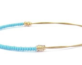 Beaded Bangle Bracelet // Eco-Friendly Jewelry // Sky Blue Seed Beads, Gold Wire Wrap // Eco-Friendly Recycled Jewelry // Music // Gift