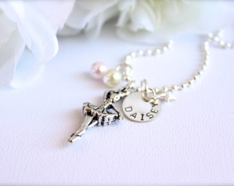 Dancing Ballerina Sterling Silver Personalized Name Dance Necklace, Ballet, Star Charms Girls Tutu Dress, On Pointe -- FREE Gift Packaging