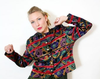 Vintage 80s Colourful Abstract Geometric Floral Print Velvet Quilted Cropped Jacket Blazer
