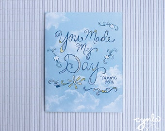 Cloud Thank You Card -  You Made My Day, Greeting Cards, Cloud cards