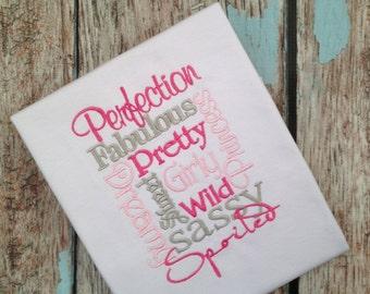 Embroidered Perfection Shirt, Spoiled, Fabulous - Motivational Girls Shirt -  Girl Power Shirt - Pink/Grey Girls Shirt