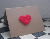 ON SALE - 20% OFF - Love Card, Valentine's Card, Red Crochet Heart, Greeting Card, Blank Card, Anniversary Card, Recycled
