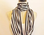 Black and White Striped Jersey Knit Infinity Scarf, Loop Scarf