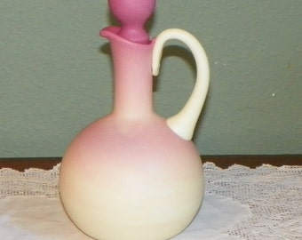 Antique Peach Blow PEACHBLOW CRUET Pink Victorian Art Glass new England Glass
