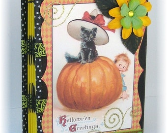 Halloween Scrapbook, Photo Album, Journal, Smash Book, Black Cat and Pumpkin