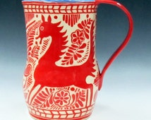 Sgraffito Carved PITCHER or Vase Pottery - FANTASY HORSE Deer Animal Art Pottery, Artist Designed Made, Folk Art Inspired, Customize Colors