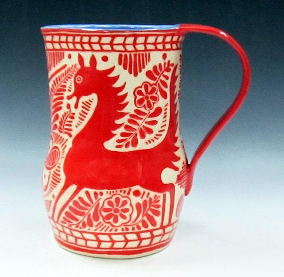 Sgraffito Carved Hand Made PITCHER or Vase - FANTASY HORSE Deer Animal Art Pottery, Folk Art Inspired, Customize Colors