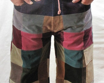 Women's Full Patchwork Corduroy Shorts Size 7 / 8