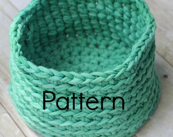 Tee Shirt Yarn Basket CROCHET PATTERN