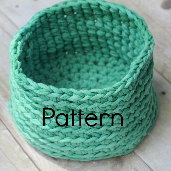 Tee Shirt Yarn Basket CROCHET PATTERN by CuddleMeKnits on Etsy