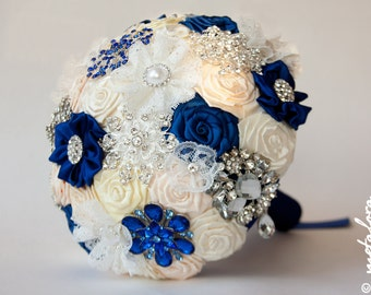 SALE!!! Brooch Bouquet. Ivory BLUE Fabric Bouquet, Unique Wedding Bridal Bouquet