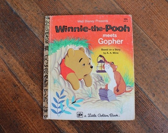 Vintage Children's Book - Walt Disney Presents Winnie-The-Pooh Meets Gopher (A Little Golden Book 1980)