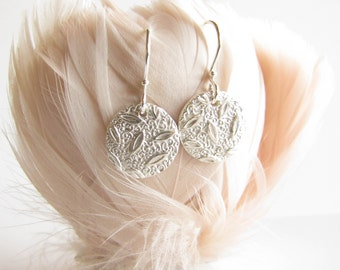 PMC earrings , Silver Earrings , Pure silver , Fine Silver , Textured Silver , PMC jewelry , Everyday earrings