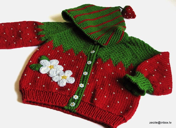 Baby jacket knitted red Strawberry cardigan for girls, childern