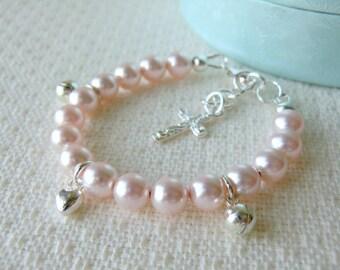 Pink Baby Bracelet for Christening Baptism or Communion Flower Girl Bracelet Baby Shower Gift Pearl Bracelet Sterling Silver Charm Bracelet